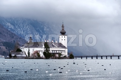 Monastery on the island of alpine lake in Gmunden by Salzburg, Austria Stock Photo
