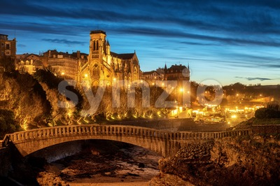 Biarritz, St Eugenia Church and Old Port at night, Basque country, France Stock Photo