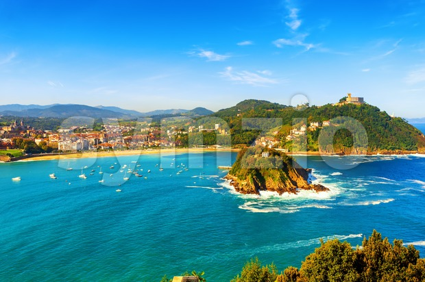 San Sebastian (Donostia) city, view of La Concha bay, Spain Stock Photo