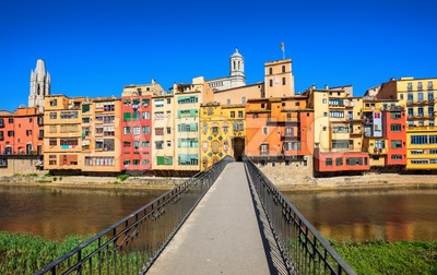 Traditional colorful facades in Girona Old Town, Catalonia, Spain Stock Photo