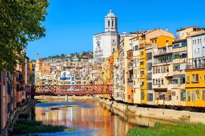 Girona Old Town, Catalonia, Spain Stock Photo