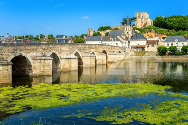 Montrichard Old Town on Cher river, France Stock Photo