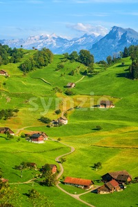 Idyllic green meadows and Alps mountains landscape, Switzerland Stock Photo