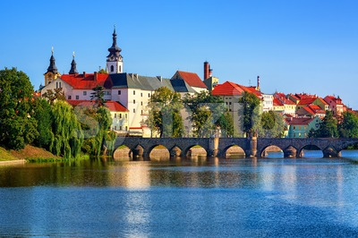 Historical Pisek Old Town, Czech Republic Stock Photo