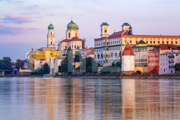 Passau, historical baroque old town, Germany, reflecting in Inn river
