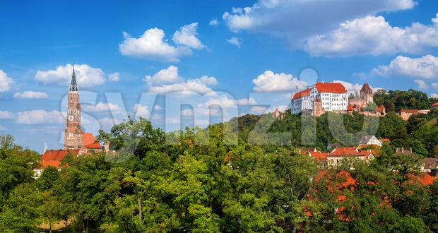 Landshut, panoramic view of the Old Town, Bavaria, Germany Stock Photo