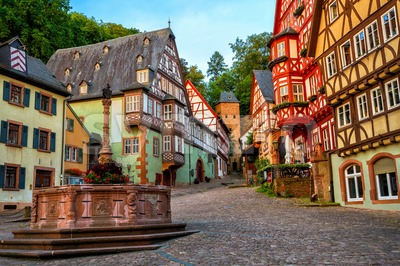 Miltenberg medieval Old Town, Bavaria, Germany Stock Photo