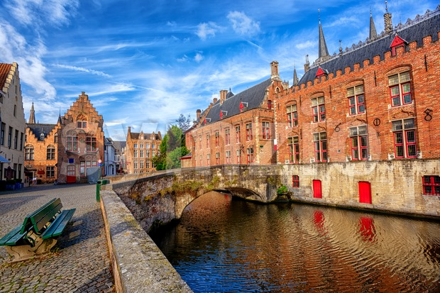 Bruges, historical brick houses in the medieval Old Town, Belgium, an UNESCO World Culture Heritage site