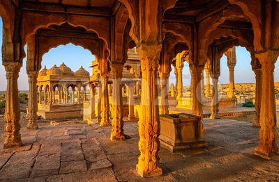 Bada Bagh tombs in Jaisalmer, Rajasthan, India Stock Photo