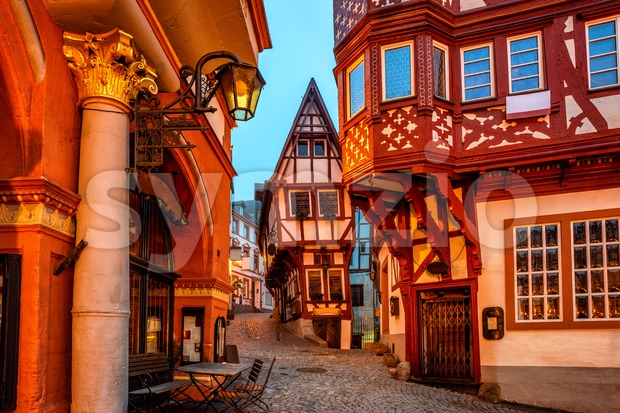 Bernkastel-Kues, picturesque half timbered houses in medieval Old Town, Moselle valley, Germany