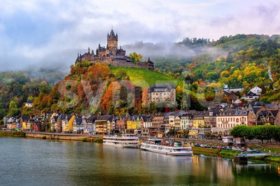 Cochem, a beautiful historical town on romantic Moselle river, Germany Stock Photo