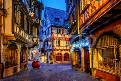 Traditional Christmas decorations and illumination in Colmar Old Town, Alsace, France Stock Photo