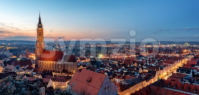 Landshut, Bavaria, Germany, St Martin's cathedral and the gothic Old town on sunset Stock Photo