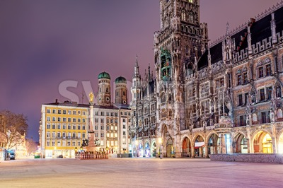 Munic Old town, Bavaria, Germany, in the night Stock Photo