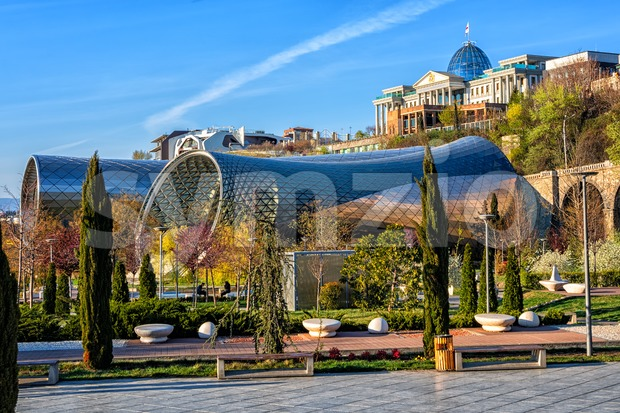 Rhike park in Tbilisi, Georgia, with Rike Concert Hall and President palace Stock Photo