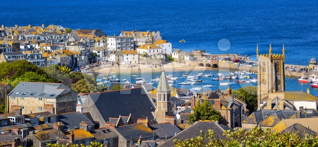 Panoramic view of St Ives Old town, Cornwall, United Kingdom Stock Photo