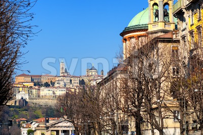 Old Town of Bergamo, Lombardy, Italy Stock Photo
