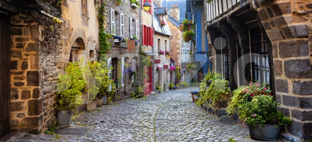 Dinan, medieval town center, Brittany, France Stock Photo