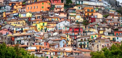 Colorful chaotic houses on a mountain in Rocca di Papa, Italy Stock Photo