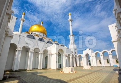 Astana, Kasakhstan, golden domes and minarets of Nur Astana mosque Stock Photo