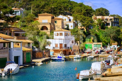 Little fishermen town on Mallorca island in Mediterranean sea, Spain Stock Photo