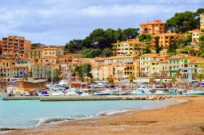 Resort town Port Soller, Mediterranean Sea, Mallorca, Spain Stock Photo