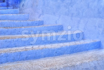 Blue stairs in Chefchaouen, Morocco Stock Photo
