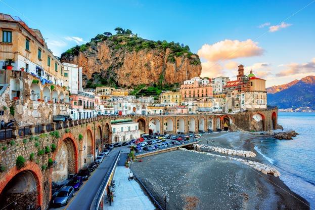Atrani Old Town And Beach On Amalfi Coast Naples Italy