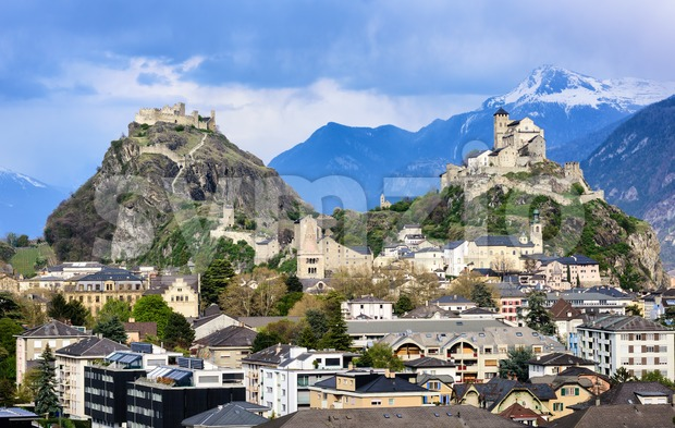 Sion town in in the Alps mountains valley, Valais, Switzerland Stock Photo