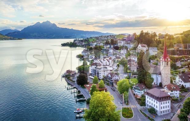 Weggis village on Lake Lucerne, Switzerland Stock Photo