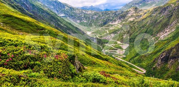 Gotthard pass road in the swiss Alps mountains, Switzerland Stock Photo