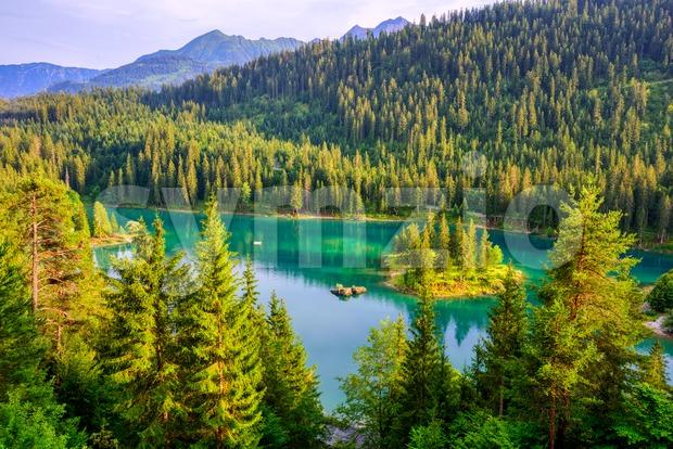 Caumasee lake in Flims, swiss Alps, Switzerland Stock Photo