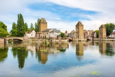 Ponts Couvert bridge and towers, Strasbourg, France Stock Photo