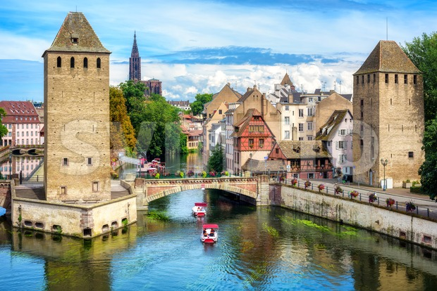Ponts Couvert bridge and towers in Strasbourg, France Stock Photo