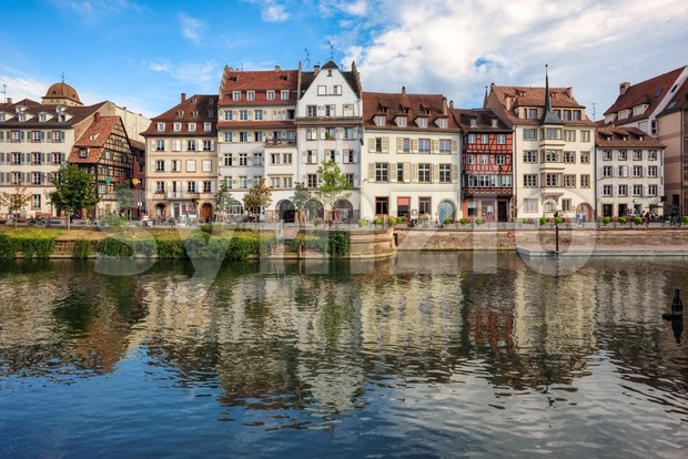 Strasbourg Old town, France, historical houses on the Ill river Stock Photo