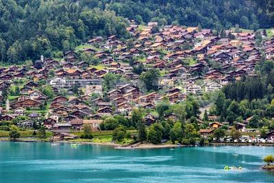 Brienz town on the Lake Brienz, swiss Alps, Switzerland Stock Photo
