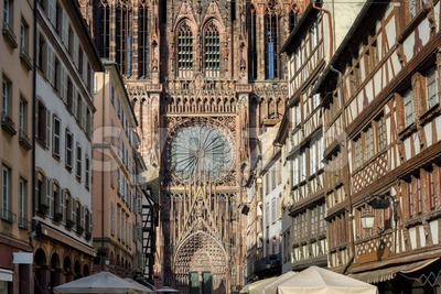 Strasbourg gothic Cathedral in the Old town of Strasbourg, Alsace, France Stock Photo