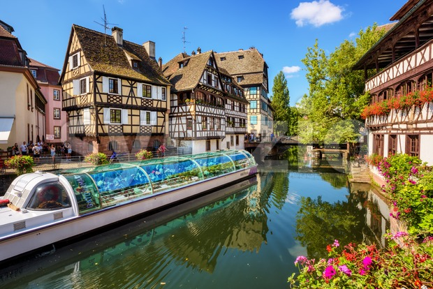 Tourist boat in the Old town of Strasbourg, France Stock Photo