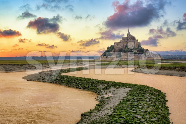 Mont Saint Michel, Normandy, France in sunset light Stock Photo