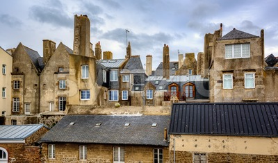 Historical houses in Saint-Malo, France Stock Photo