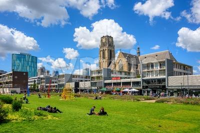 Rotterdam city center, view of Laurenskerk church, Netherlands Stock Photo