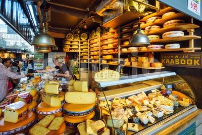Dutch cheese market stall in Rotterdam, Netherlands Stock Photo