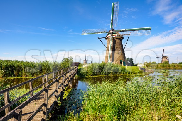 Windmills in Kinderdijk, South Holland, Netherlands Stock Photo