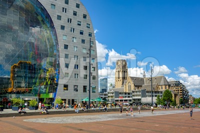 The Markthal building and Laurenskerk church  in Rotterdam, South Holland, Netherlands Stock Photo