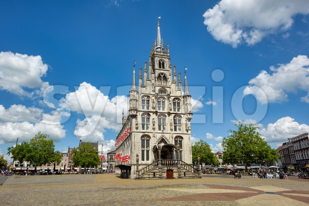 Historical Town Hall in Gouda Old town, Netherlands Stock Photo