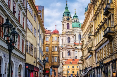 Historical baroque buildings in the center of Prague, Czech Republic Stock Photo