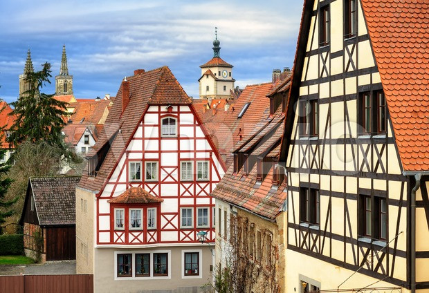Traditional red tile roofs and half-timbered houses in Rothenburg ob der Tauber, Germany