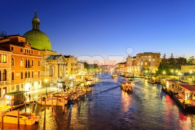 The Grand Canal, Venice, Italy, on the late evening Stock Photo