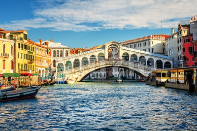 The Grand Canal and Rialto bridge, Venice, Italy Stock Photo