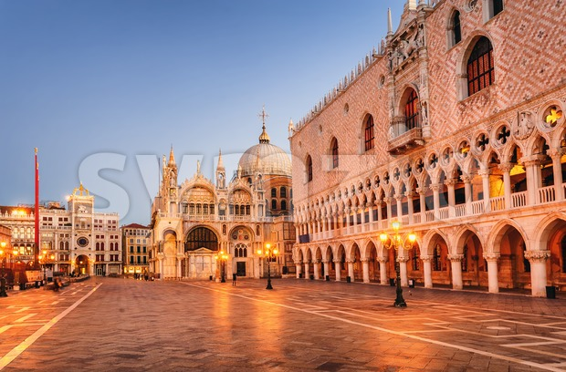 San Marco cathedral and Doge's Palace in the early morning light, Venice, Italy Stock Photo